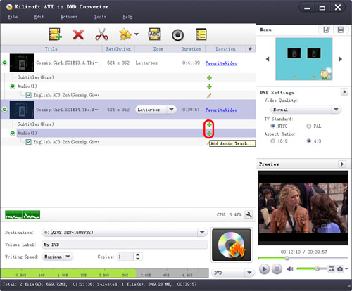 Create subtitle and audio track for DVD