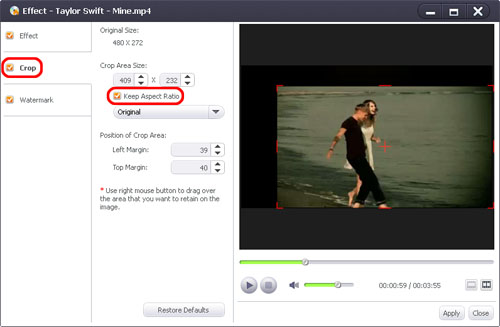 How to crop DVD image size