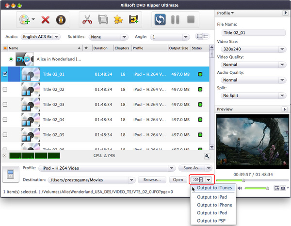 Xilisoft DVD to Video Ultimate For Mac
