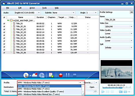 Xilisoft DVD to WMV Converter