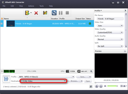 Choose the file folder for MKV to MP4 Conversion