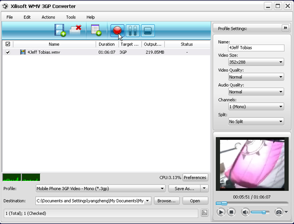 Xilisoft WMV 3GP Converter, Convert WMV to 3GP