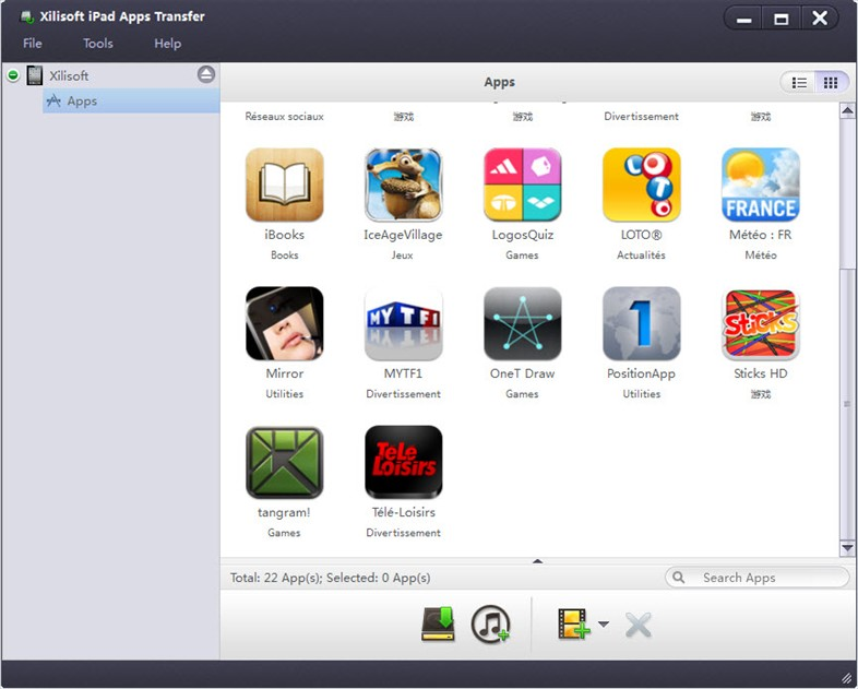 Xilisoft iPad Apps Transfer Screenshot